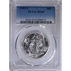 1945-S WALKING LIBERTY HALF PCGS MS-65