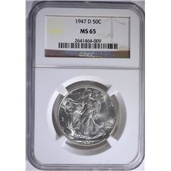 1947-D WALKING LIBERTY HALF NGC MS-65