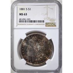 1881-S MORGAN DOLLAR, NGC MS-63