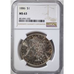 1886 MORGAN DOLLAR, NGC MS-63