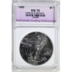 1993 AMERICAN SILVER EAGLE, NGP PERFECT GEM BU