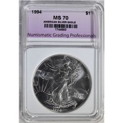 1994 AMERICAN SILVER EAGLE, NGP PERFECT GEM BU