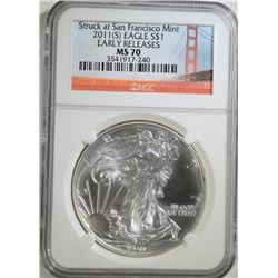 2011 (S) SILVER EAGLE DOLLAR NGC MS 70
