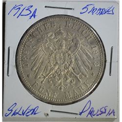 1913 A SILVER 5 MARKS PRUSSIA KAISER COMMEM