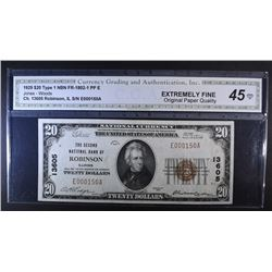 1929 $20 TYPE 1 NATIONAL CURRENCY CGA EF-OPQ