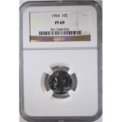 1964 ROOSEVELT DIME  NGC PF 69