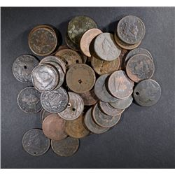 48-LARGE CENTS: CULLS, HOLED DAMAGED OR CORRODED