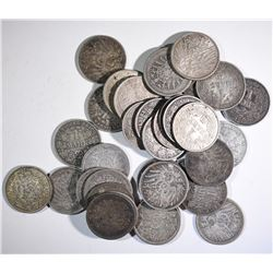 35-SILVER GERMAN 1 MARKS FROM 1800'S & 1900'S