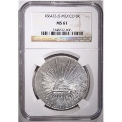 1884 ZS JS MEXICO 8 REALES, NGC MS-61