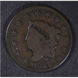 1827 LARGE CENT, VG BETTER DATE