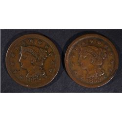 1852 & 53 LARGE CENTS, VF NICE