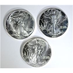 3-BU 1987 AMERICAN SILVER EAGLES, EARLY DATE