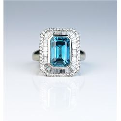 18CAI-10 BLUE ZIRCON  DIAMOND RING