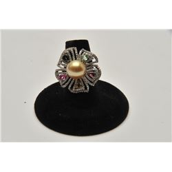 18RPS-31 TAHITIAN GOLDEN PEARL  TOURMALINE RING