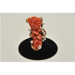 18RPS-3 CORAL  PEARL RING
