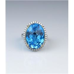 18CAI-21 SWISS BLUE TOPAZ  DIAMOND RING