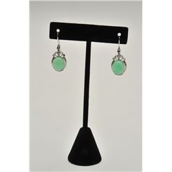 18RPS-29 CHALCEDONY CABOCHON EARRINGS