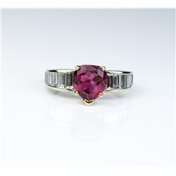 18CAI-52 RUBELLITE TOURMALINE  DIAMOND RING