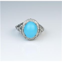 18CAI-30 TURQUOISE  DIAMOND RING