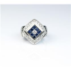 18CAI-53 BLUE SAPHIRE  DIAMOND RING