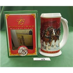 BUDWEISER 25TH ANNIVERSARY CLYDESDALE BEER STEIN