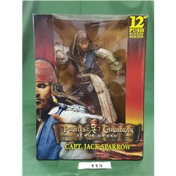"PIRATES OF THE CARIBBEAN 12"" PUSH BUTTON SOUND CPT. JACK SPARROW"