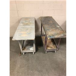 Lot of (2) Light Weight Shop Carts **Wood Top