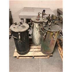 Lot of (3) Air Powered Industrial Paint Sprayers 10 Gal