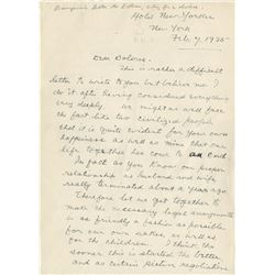 John Barrymore letter to his wife Dolores Costello asking for a divorce.