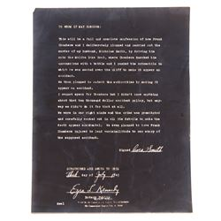 """Lana Turner """"Cora Smith"""" prop confession letter from The Postman Always Rings Twice."""