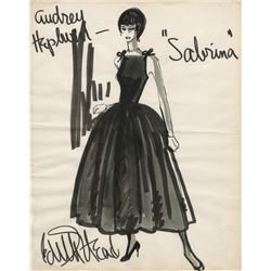 "Edith Head original costume sketch of Audrey Hepburn as ""Sabrina Fairchild"" from Sabrina."