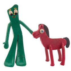 """Gumby"" and ""Pokey"" Art Clokey claymation puppets from The Gumby Show."