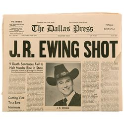 """J.R. Ewing Shot"" prop newspaper from Dallas."