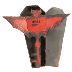 """Cassandra Peterson """"Elvira"""" coffin container and key to the city from Elvira: Mistress of the Dark."""