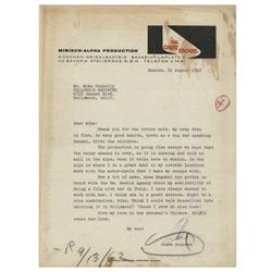 Steve McQueen signed letter to the Hollywood Reporter during filming of The Great Escape.
