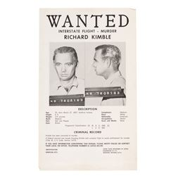 "David Janssen ""Dr. Richard Kimble"" original ""Wanted"" poster from The Fugitive."