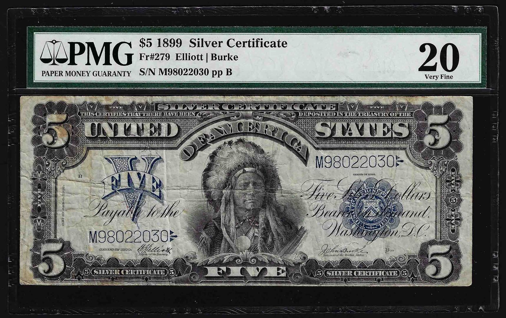 1899 5 Chief Silver Certificate Note Fr279 Pmg Very Fine 20
