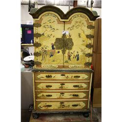 ANTIQUE CHINESE HAND PAINTED ARMOIRE, MID 1800S