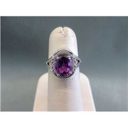 2.9 CT Amethyst & Diamond Sterling Silver Ring