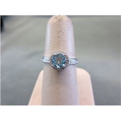 Blue Topaz & Diamond Solitaire Ring