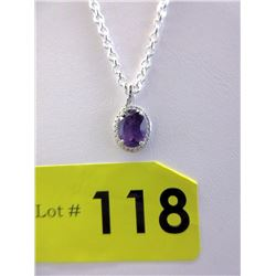Large Amethyst & Diamond Sterling Silver Necklace