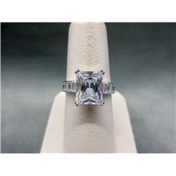Large Sterling Silver Crystal Solitaire Ring