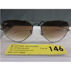 New Silver Ray Ban Sunglasses with Brown Lenses