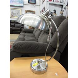 Silver Coloured Metal Adjustable Table Lamp