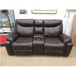 """New 76"""" Manual Reclining Leather Sofa"""