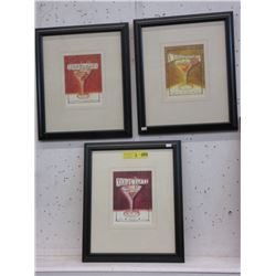 3 Framed Cocktail Prints
