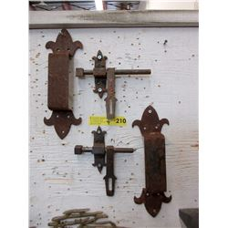 "2 Metal Door Pulls & Two 6"" Latches"