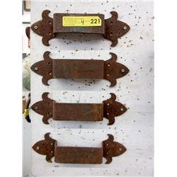 "Four 12"" Metal Door Pulls - 4"" Wide"