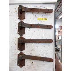 "Four 14"" Metal Door Hinges"