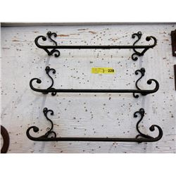 "3 Metal 19"" Wall Racks - 9"" Tall"